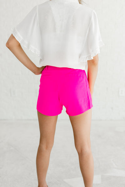 Hot Pink Pleated Shorts Belt Loops Zipper Hook and Eye Pockets Boutique