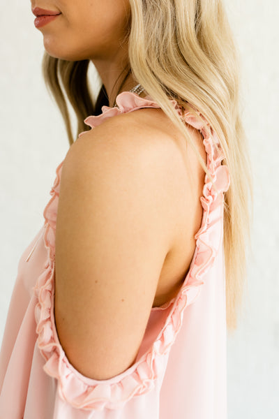 Blush Rose Pink Cute Boutique Ruffled Boutique Cold Shoulder Tops and Blouses