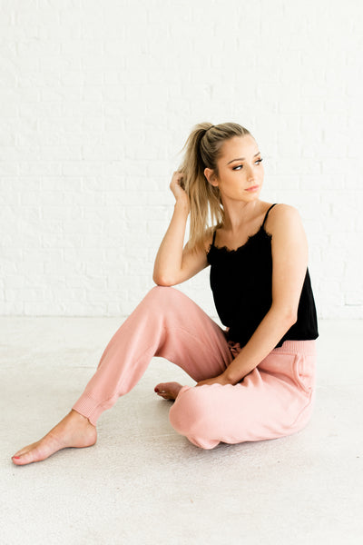Pink Knit Joggers Sweatpants Loungewear with Pockets and Elastic Waist