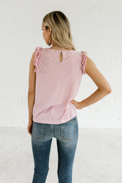 Pink Striped Front Knot Ruffle Sleeve Tank Tops for Women