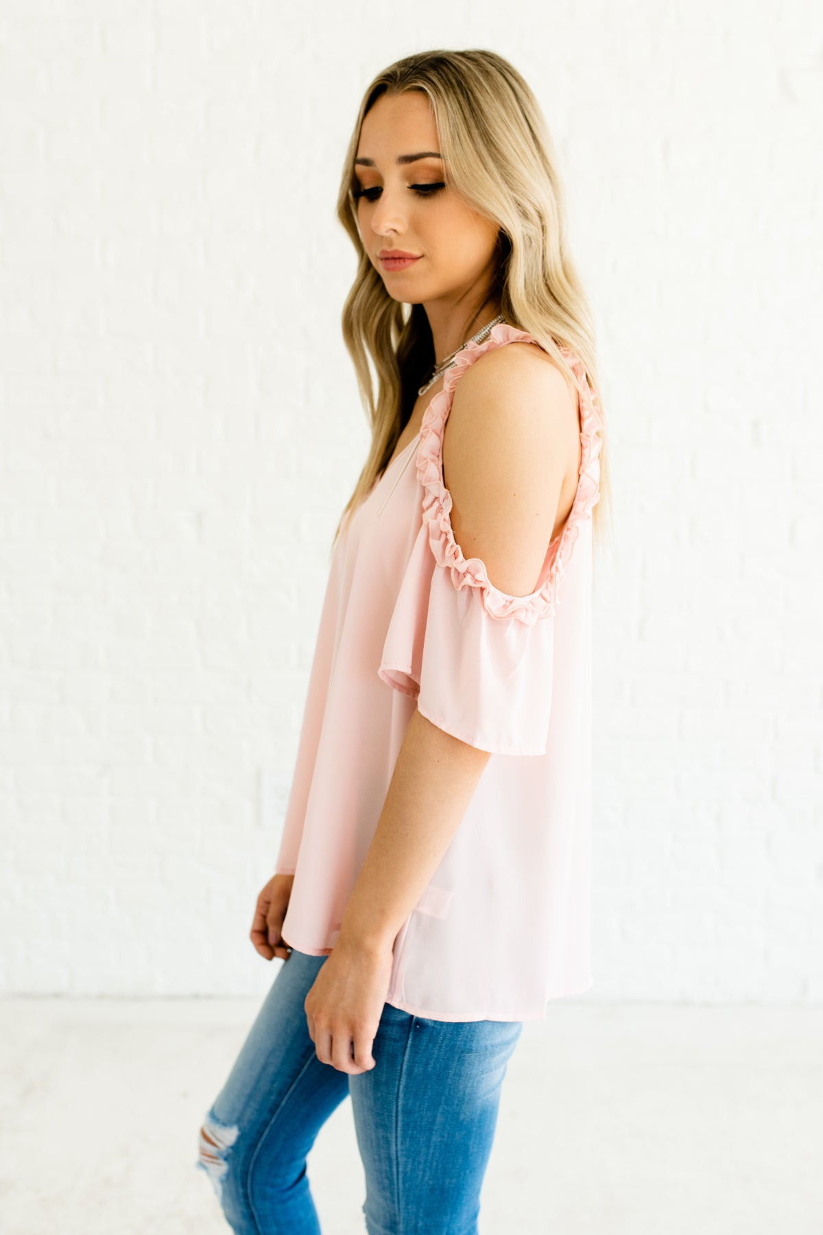 906f0f32dab47 Blush Pink Cute Affordable Online Boutique Tops and Blouses with Ruffled  Cold Shoulder Style