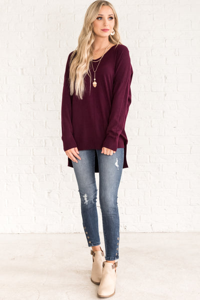 Plum Burgundy Purple Sweaters Affordable Online Womens Boutique