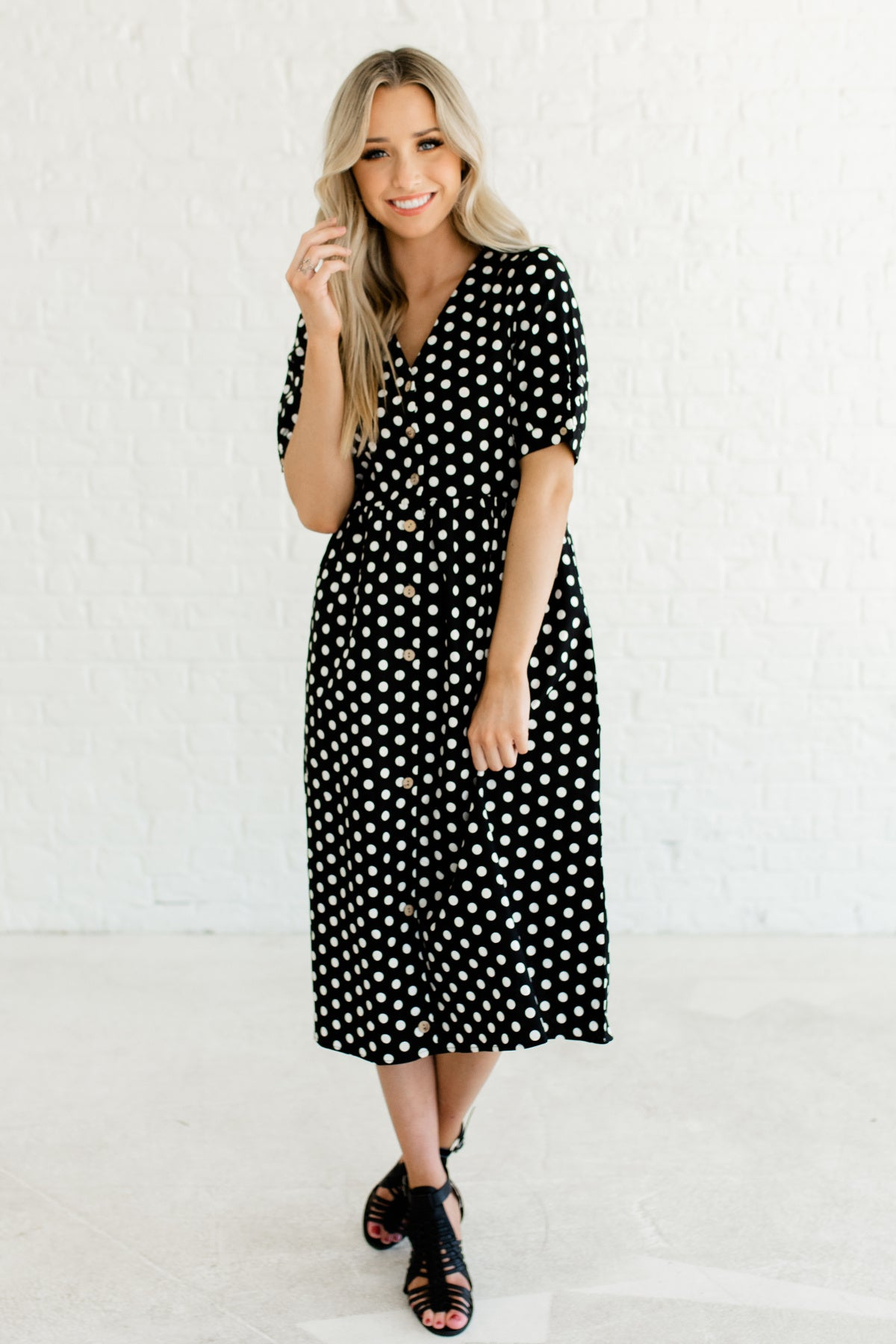 bcf5881c004 Black White Polka Dot Print Vintage Inspired Button Up Nursing Friendly Midi  Dresses