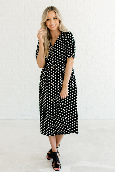 Black White Polka Dot Print Vintage Inspired Button Up Nursing Friendly Midi Dresses