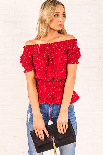 Red Polka Dot Smocked Off the Shoulder Lace Up Corset Waist Ruffle Hem Tops for Women