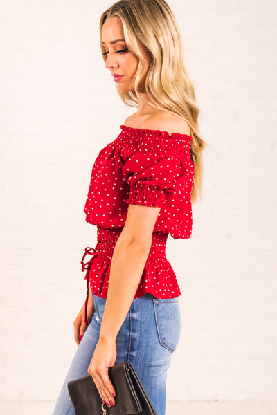 Red Polka Dotted Smocked Off the Shoulder Ruffle Hem Puffy Sleeve Lace Up Waist Tops