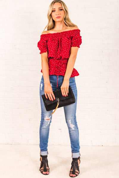 Red White Polka Dot Smocked Off Shoulder Puff Sleeve Lace Up Tie Waist Ruffled Tops for Women