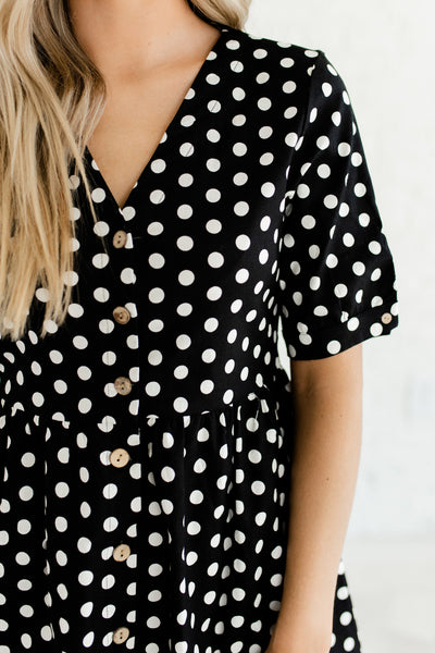 Black Polka Dot Print Retro Style Button Up Nursing Friendly Midi Dresses for Women