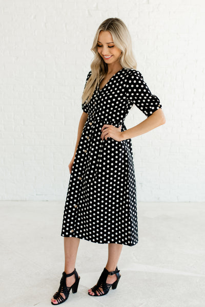 Black Polka Dot Print Wooden Button Up Front Midi Dresses with Half Sleeves