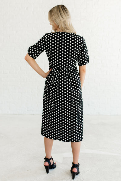 Black Polka Dot Print Button Up Midi Dresses Affordable Online Boutique Fashion