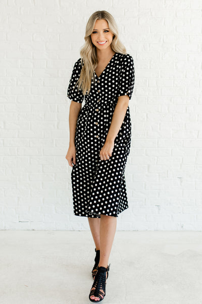 Black White Polka Dot Print Midi Length Boutique Dresses with Pockets