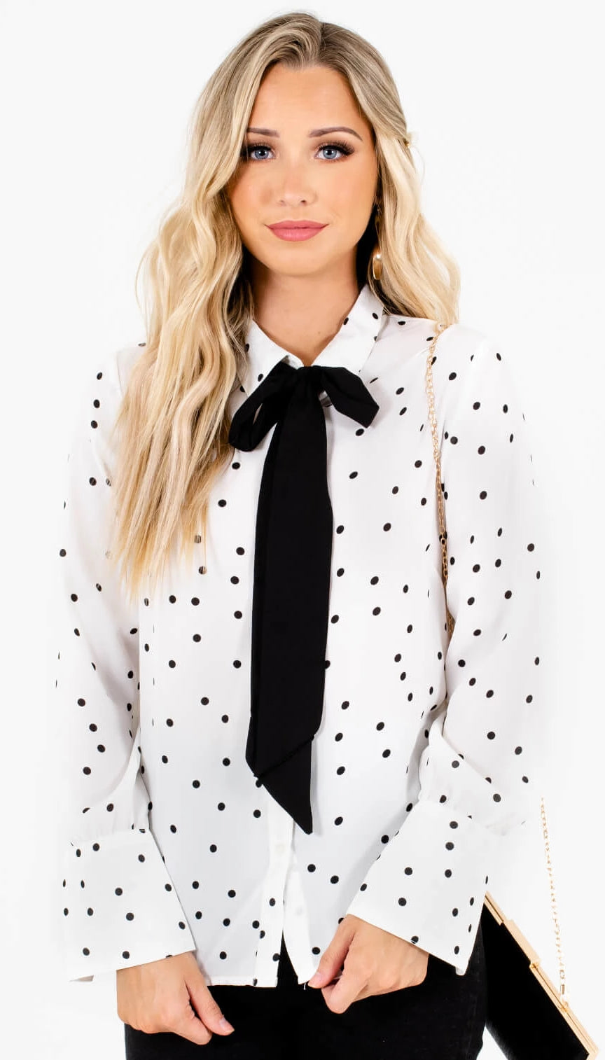 White Black Polka Dot Pussybow Neck Tie Button-Up Shirts