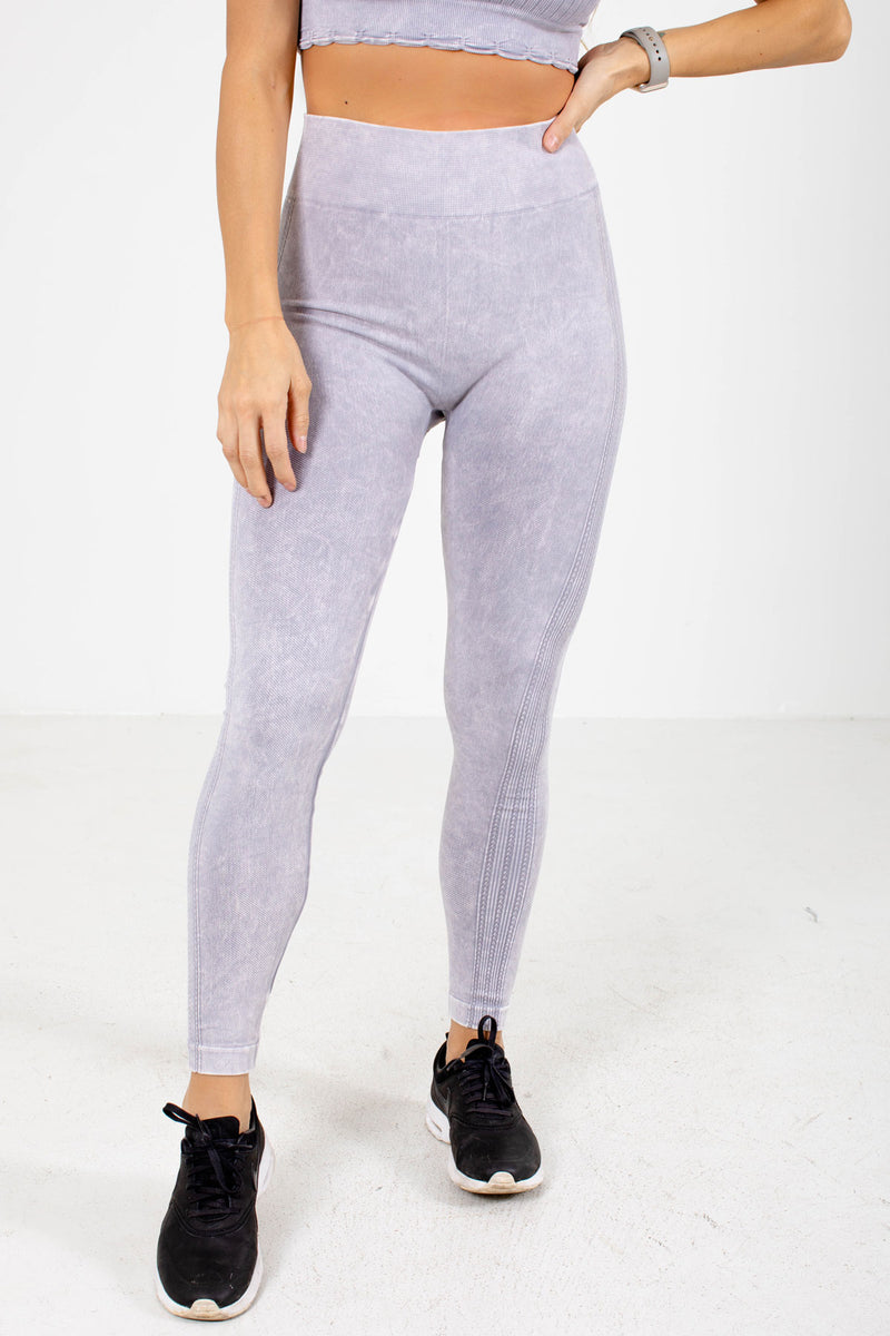 Premium Active Ribbed Detail Leggings - Purple