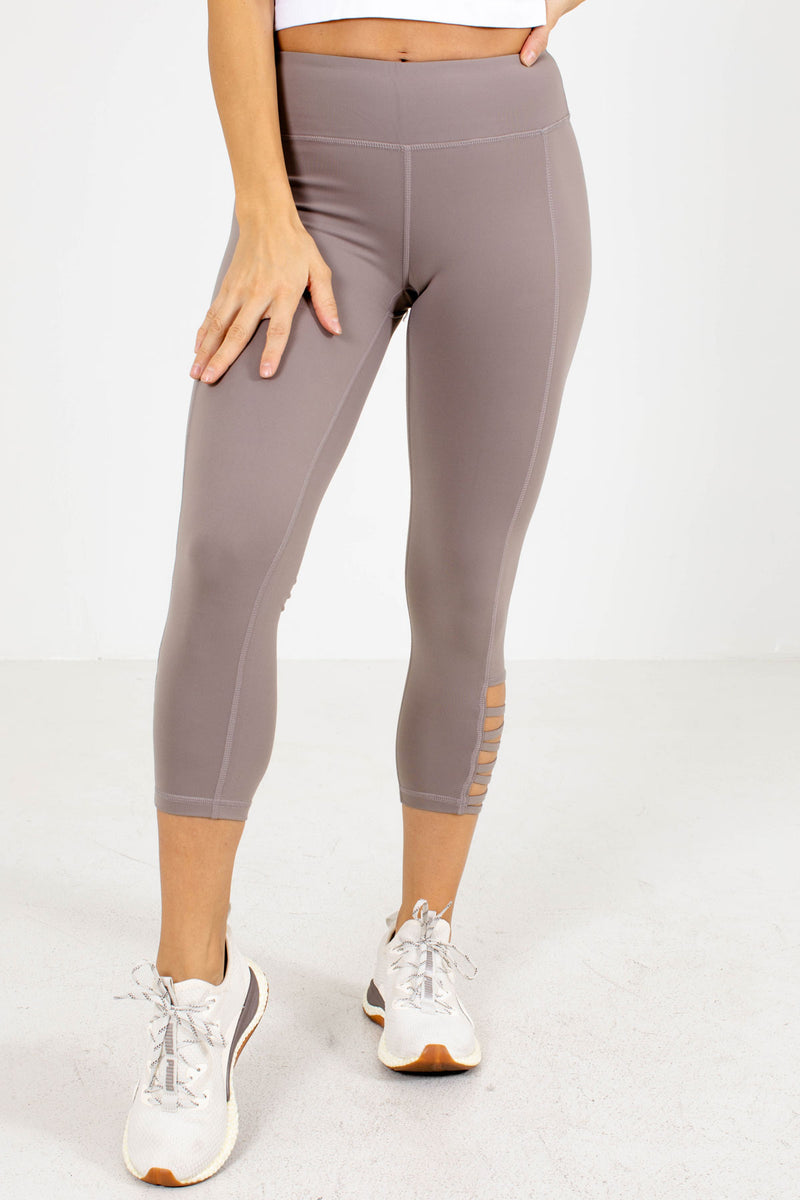 Premium Cut-Out Active Leggings - Light Brown