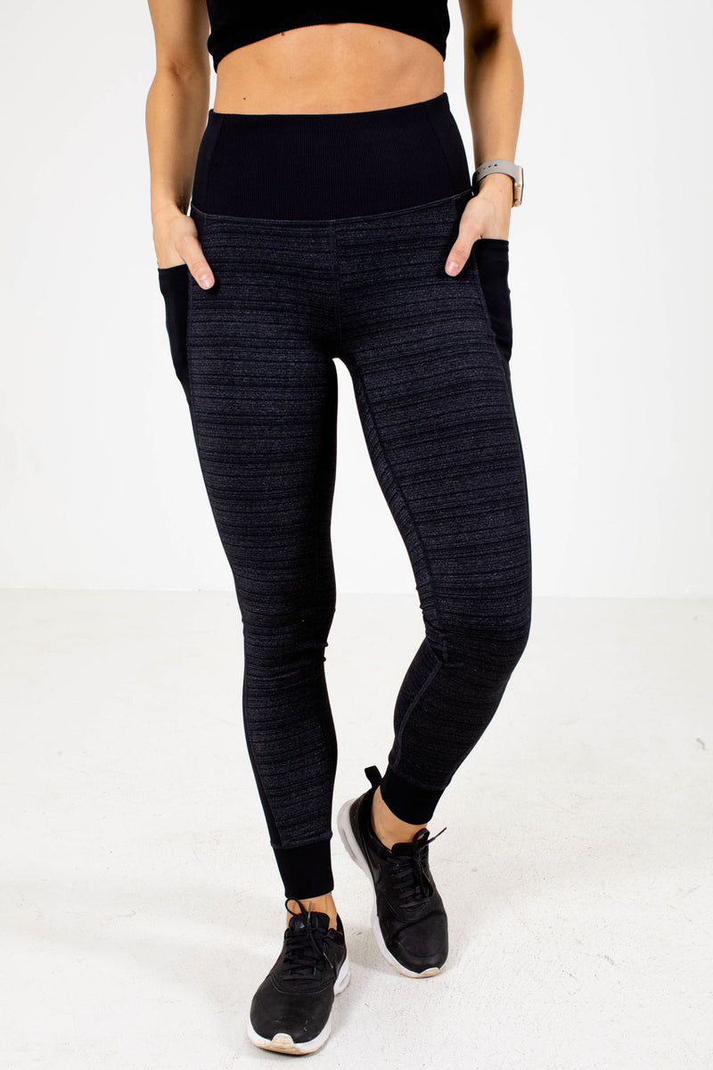 Premium Ribbed Active Pocket Leggings - Black