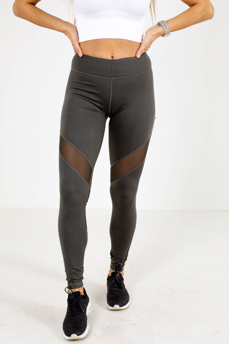 Premium Sheer Insert Active Leggings - Dark Green