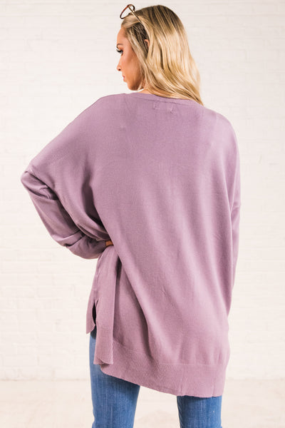 Lavender Purple Cute Oversized Front Seam High Low Soft Sweaters for Women