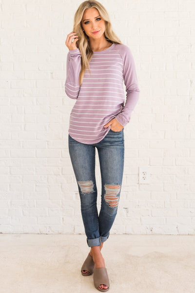 Lavender Purple Striped Long Sleeve Tops with Elbow Patches