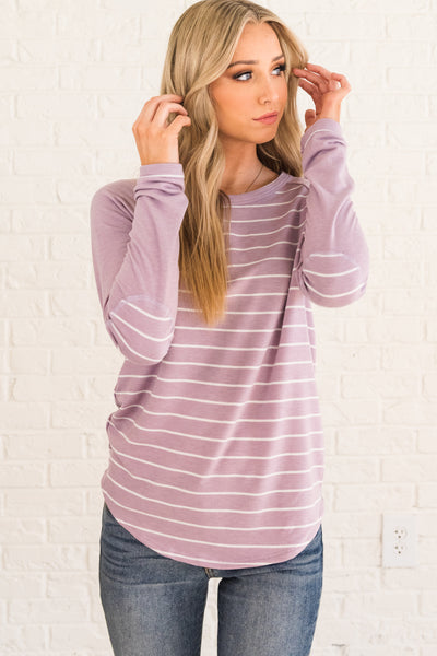 Lavender Purple Cute Boutique Striped Long Sleeve Tops for Women