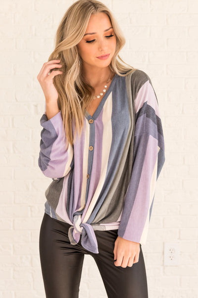 Purple Gray Blue Cream Striped Plus Size Curvy Tie Front Oversized Tops for Women
