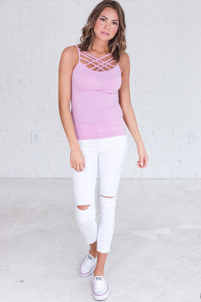 Purple Cute Boutique Strappy Criss Cross Tanks from Affordable Online Boutique