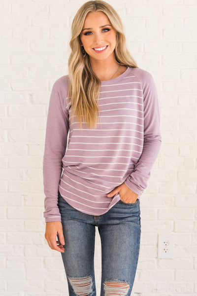 Lavender Light Purple Striped Long Sleeve Elbow Patch Tops for Women