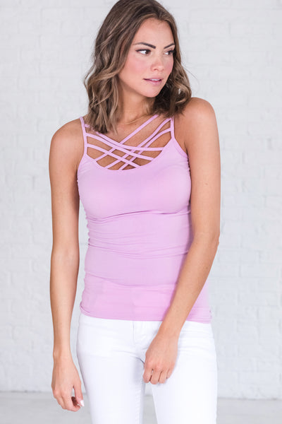 Bright Purple Lilac Lavender Cute Strappy Caged Criss Cross Tank Top