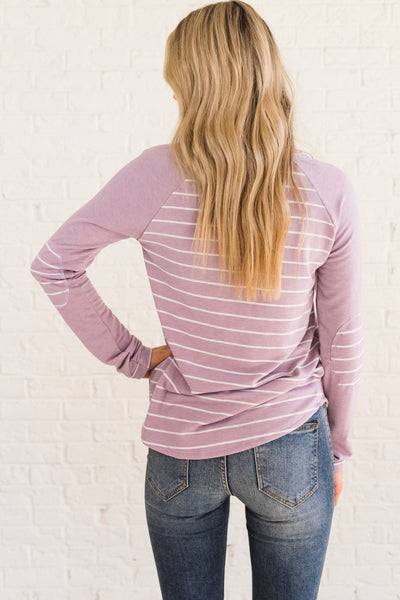 Lavender Purple Striped Long Sleeve Elbow Patch Cute Tops Affordable Online Boutique