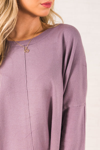 Lavender Purple Cute Oversized High Low Hem Boutique Sweaters for Women