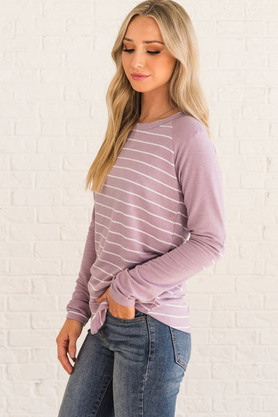 Lavender Purple Striped Elbow Patch Long Sleeve Tops Affordable Online Boutique