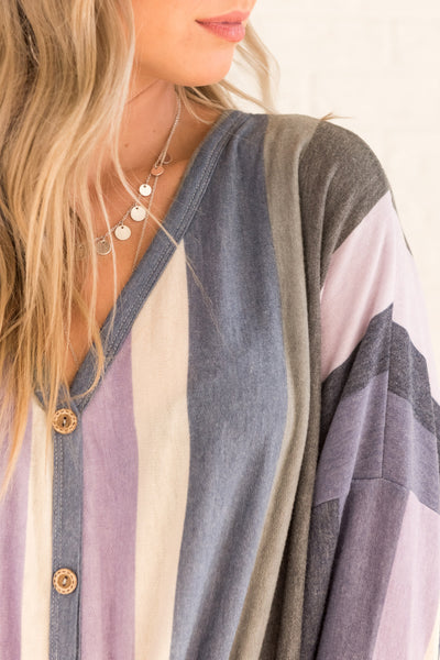 Purple Blue Gray Striped Plus Size Long Sleeve Oversized Tie Front Tops Affordable Online Boutique