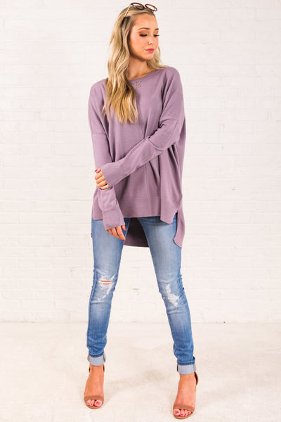 Lavender Light Purple Cute Oversized Front Seam Cozy Warm Sweaters for Women