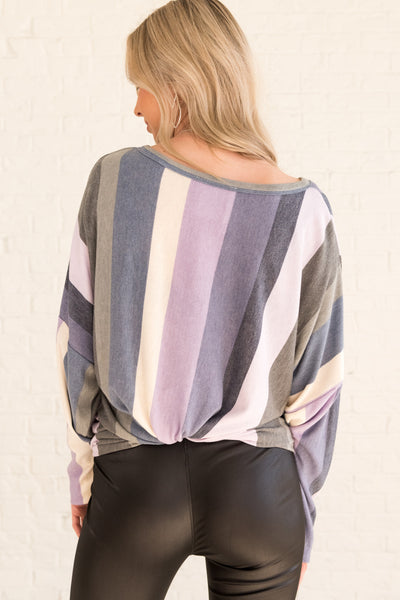 Purple Plus Size Curvy Tie Front Tops with Lilac Navy Gray Cream Striped Pattern