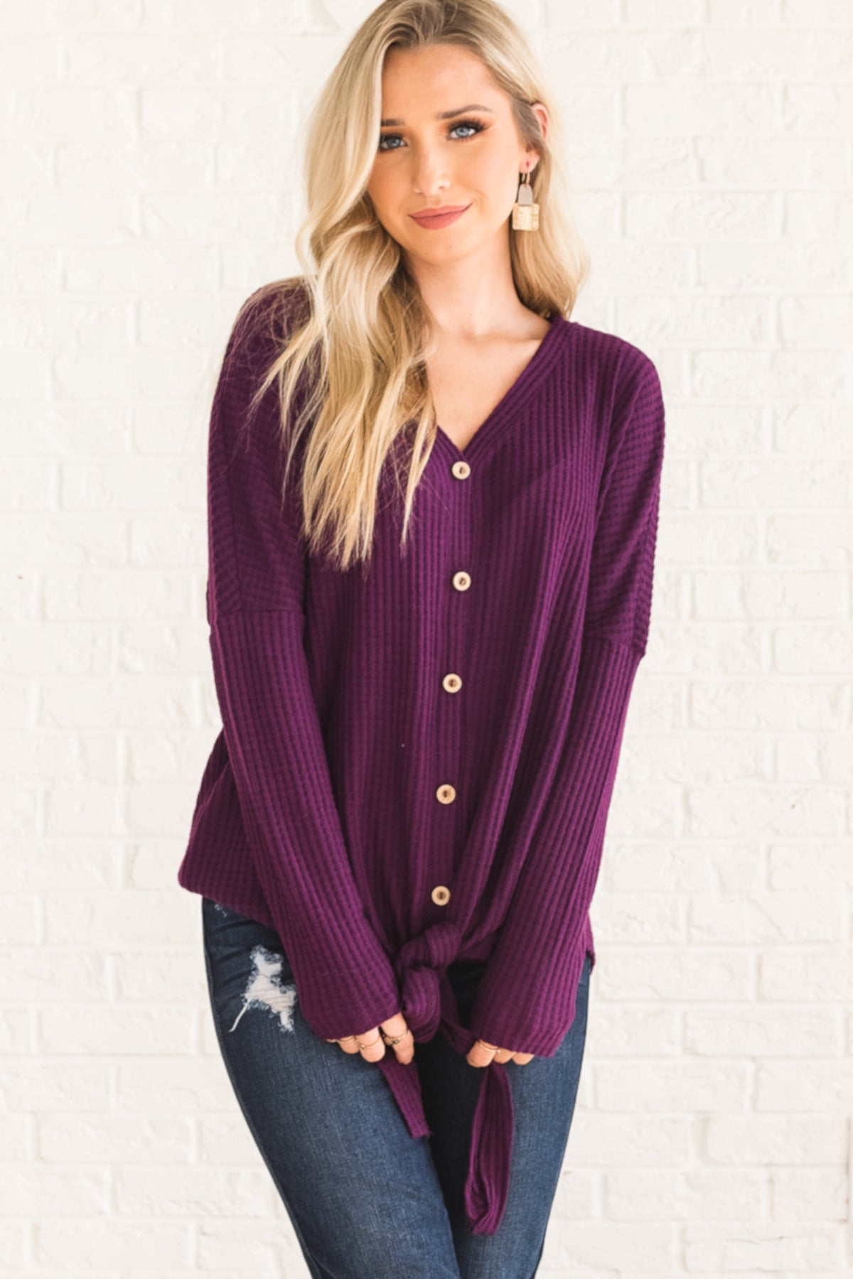 Plum Purple Cute Cozy Oversized Button Up Front Knot Waffle Knit Tops 8f94e484c