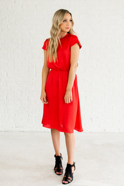 Red Knee Length Short Sleeve Cute Satin Dresses Business Casual for Women