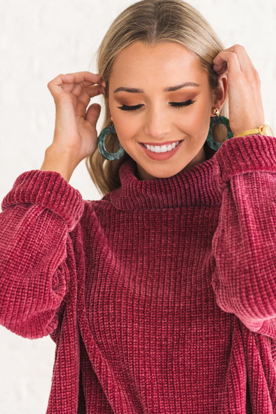 Rose Red Cute Soft Cozy Warm Chenille Cowl Neck Sweaters for Winter