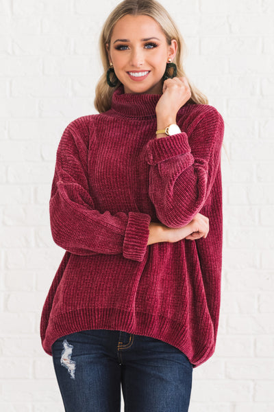 Rose Pink Burgundy Wine Red Chenille Pullover Cowl Neck Turtleneck Warm Cozy Boutique