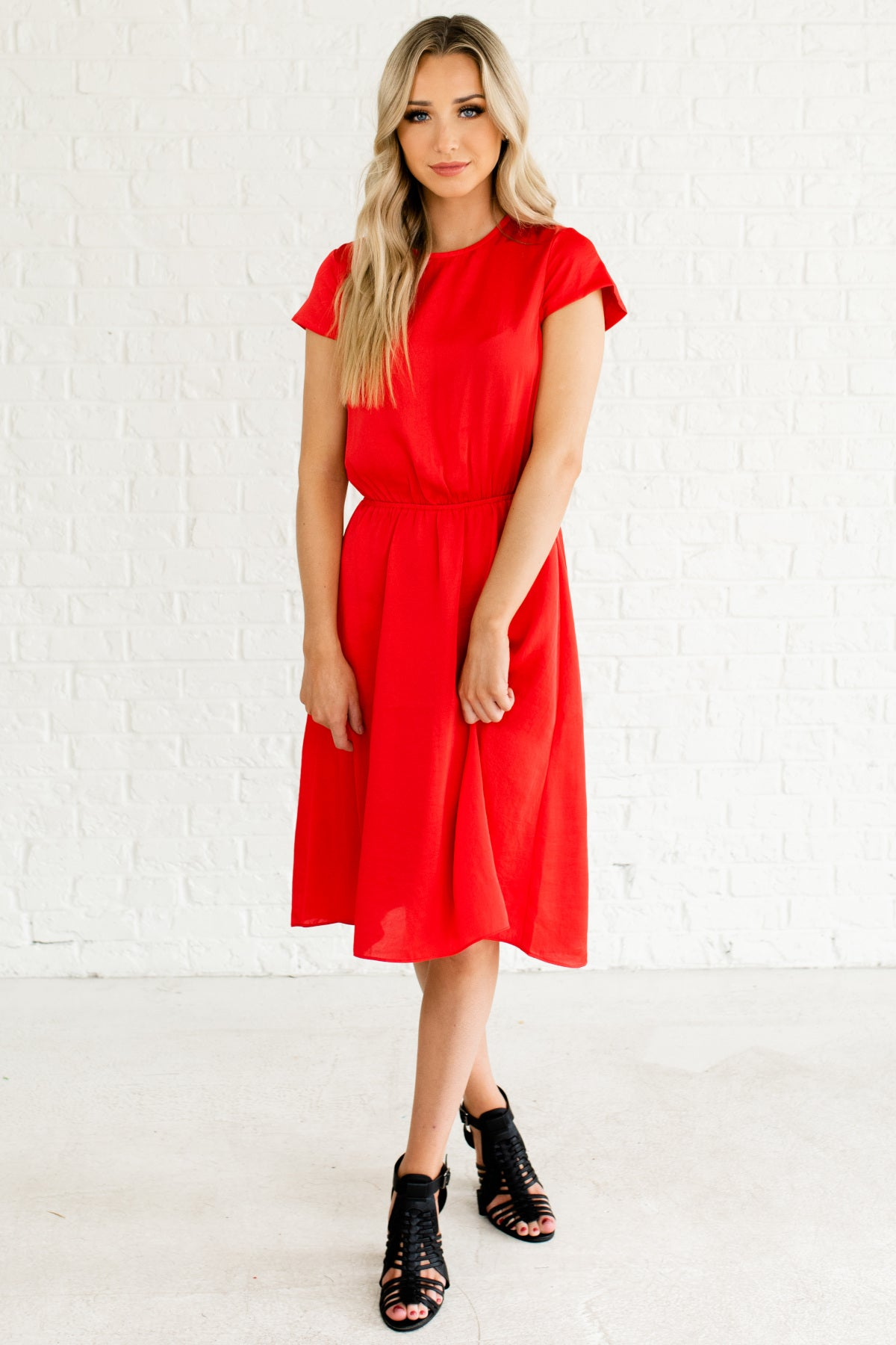 Red Satin Cap Sleeve Knee Length Affordable Online Boutique Dresses for Women