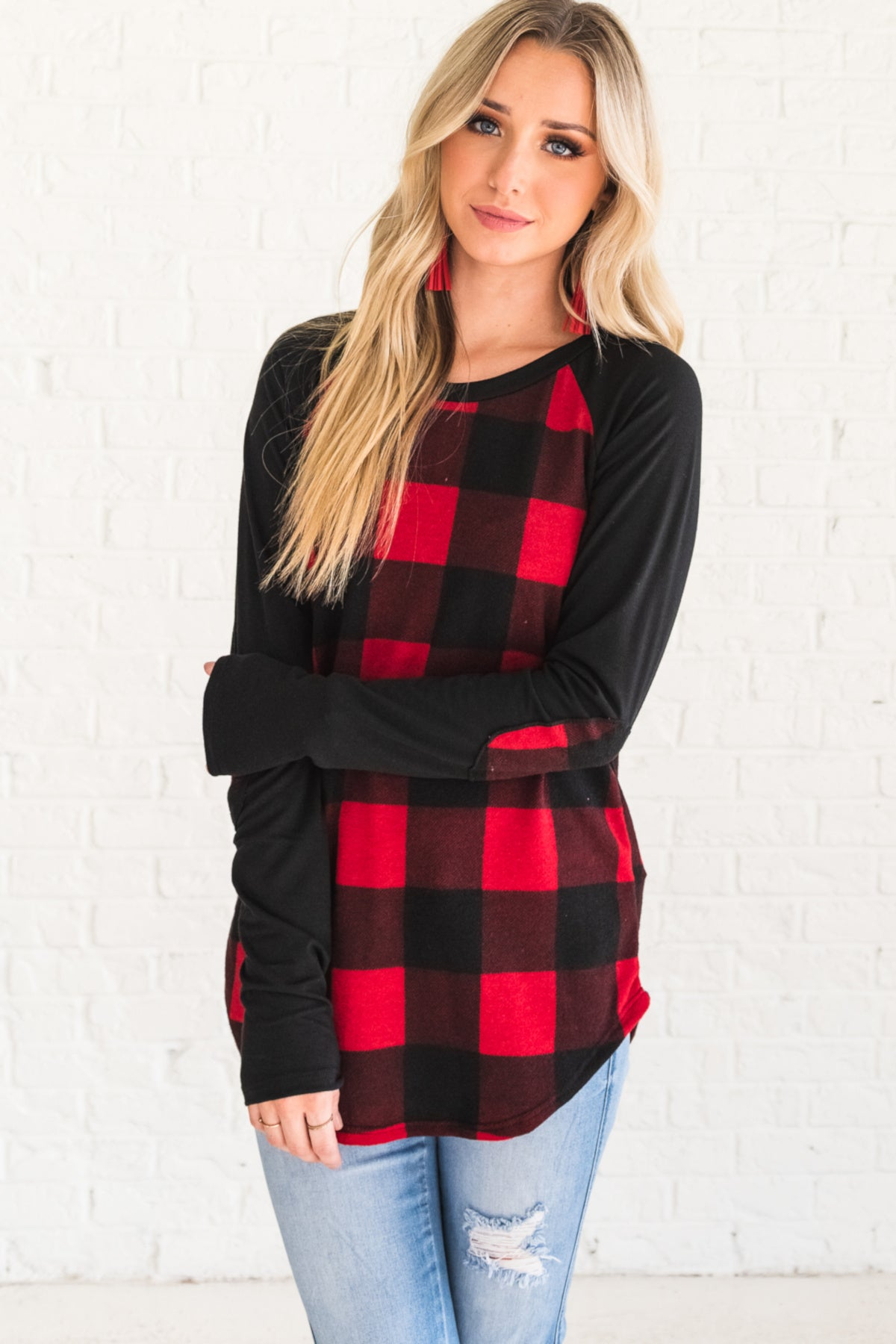 Red Black Buffalo Plaid Cute Long Sleeve Top with Elbow Patch Accents