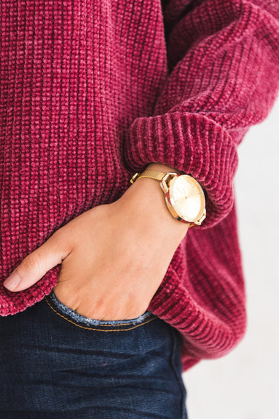 Burgundy Wine Red Cute Soft Chenille Cowl Neck Sweaters for Women