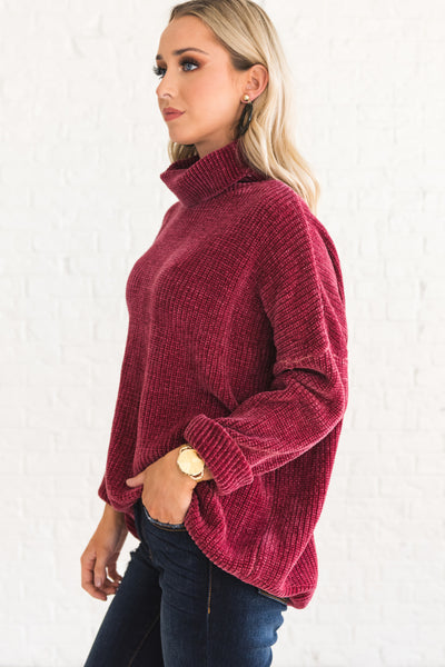 Wine Burgundy Red Soft Chenille Turtleneck Cowl Neck Sweaters