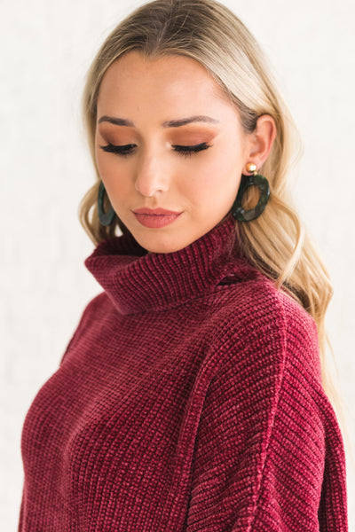 Light Burgundy Red Cute Cowl Neck Sweaters with Soft Cozy Plush Chenille Material