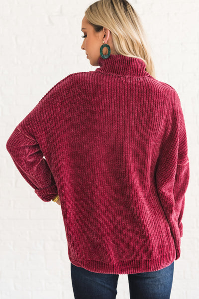 Pinkish Red Super Soft Plush Cozy Warm Chenille Sweaters with Cowl Neck and Chunky Knit