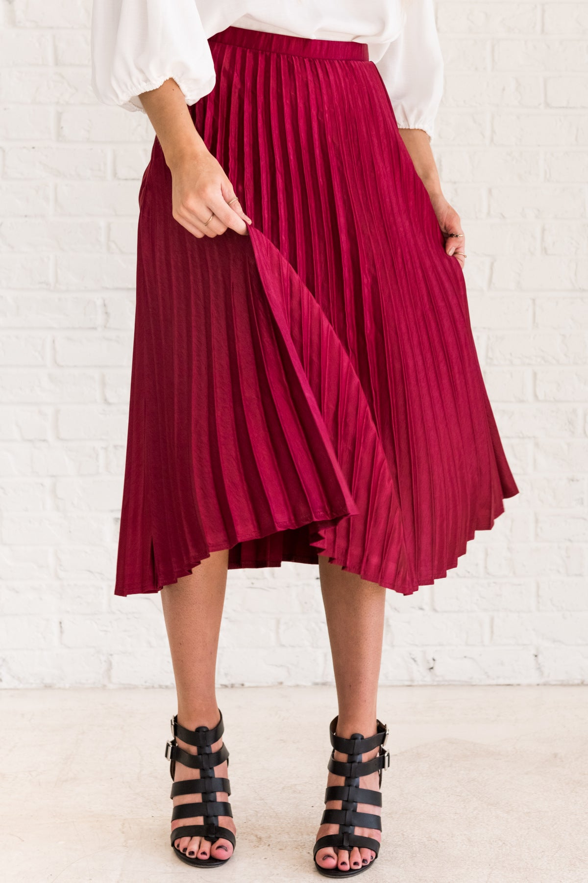 856a7ea460a Red Pleated Midi Skirt with Soft Silky Material and Hidden Zipper