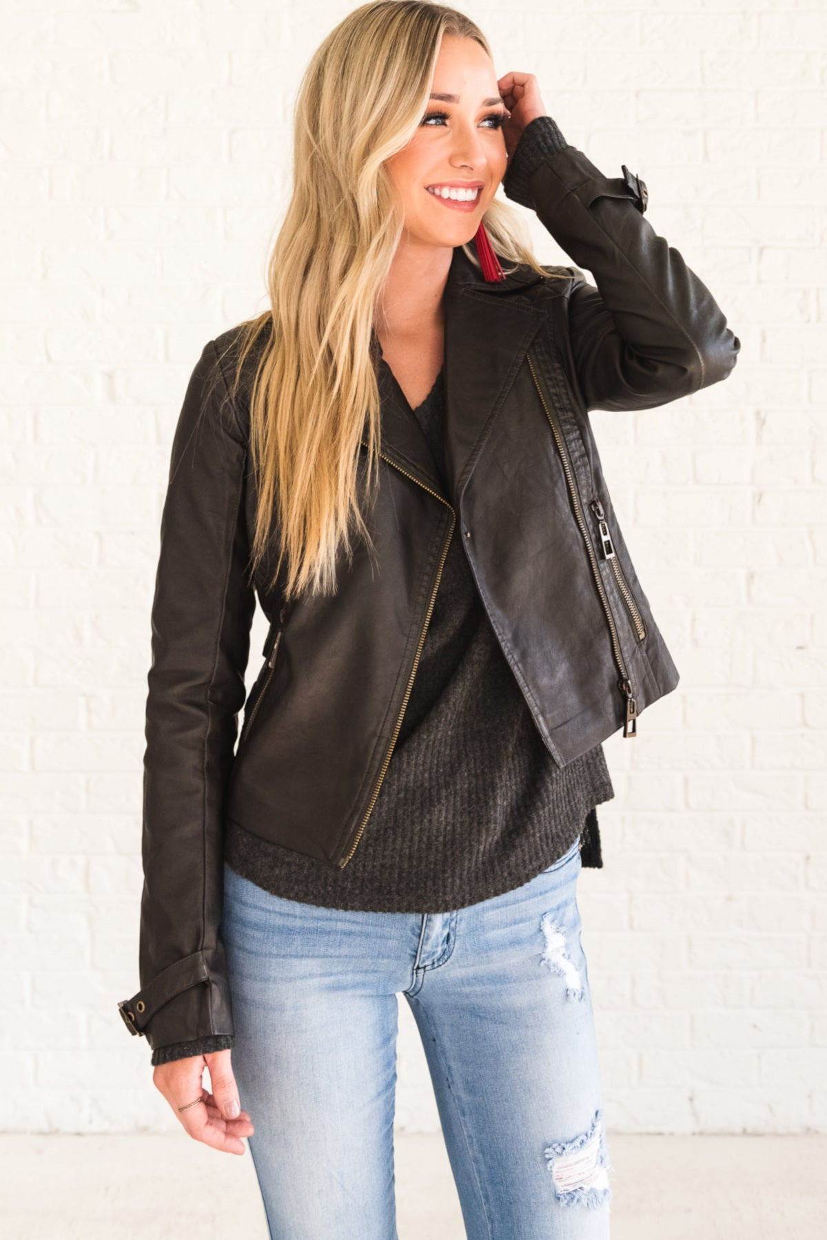Faded Black Charcoal Gray Blanc Noir Faux Leather Jacket with Cropped Length