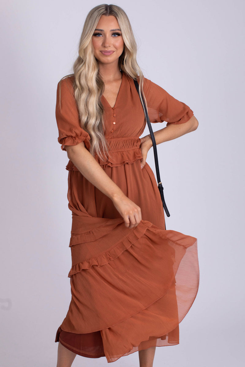 Run To You Tiered Midi Dress