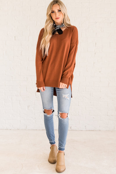 rust burnt orange cute pullover sweaters for fall and winter Cozy Warm