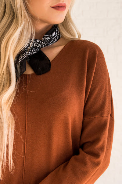 rust burnt orange sweaters from affordable online boutique Cozy Warm