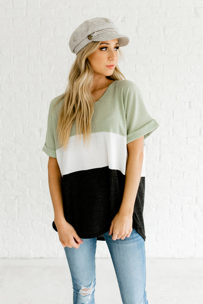 Sage Mint Green White Charcoal Gray Color Block Waffle Knit Tops for Women