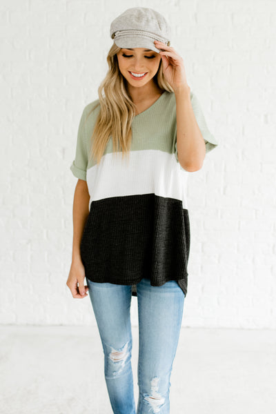 Sage Green White Gray Color Block High Low Oversized Waffle Knit Tops Boutique